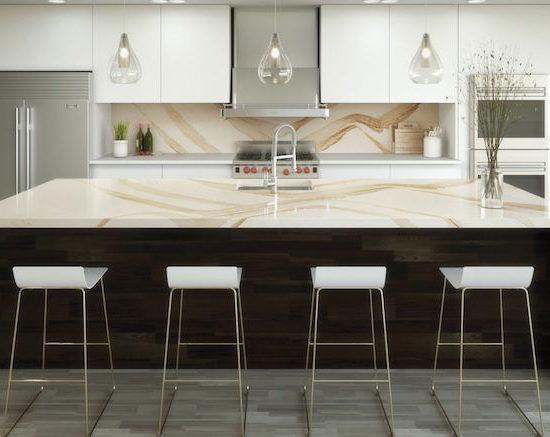 Maple cabinets topped with Cambria quartz