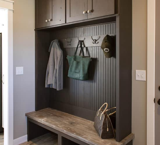 Mudroom wall lockers with coat hooks
