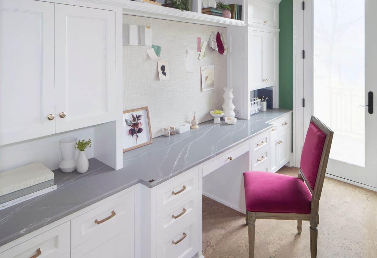 Desk with elegant stone countertop