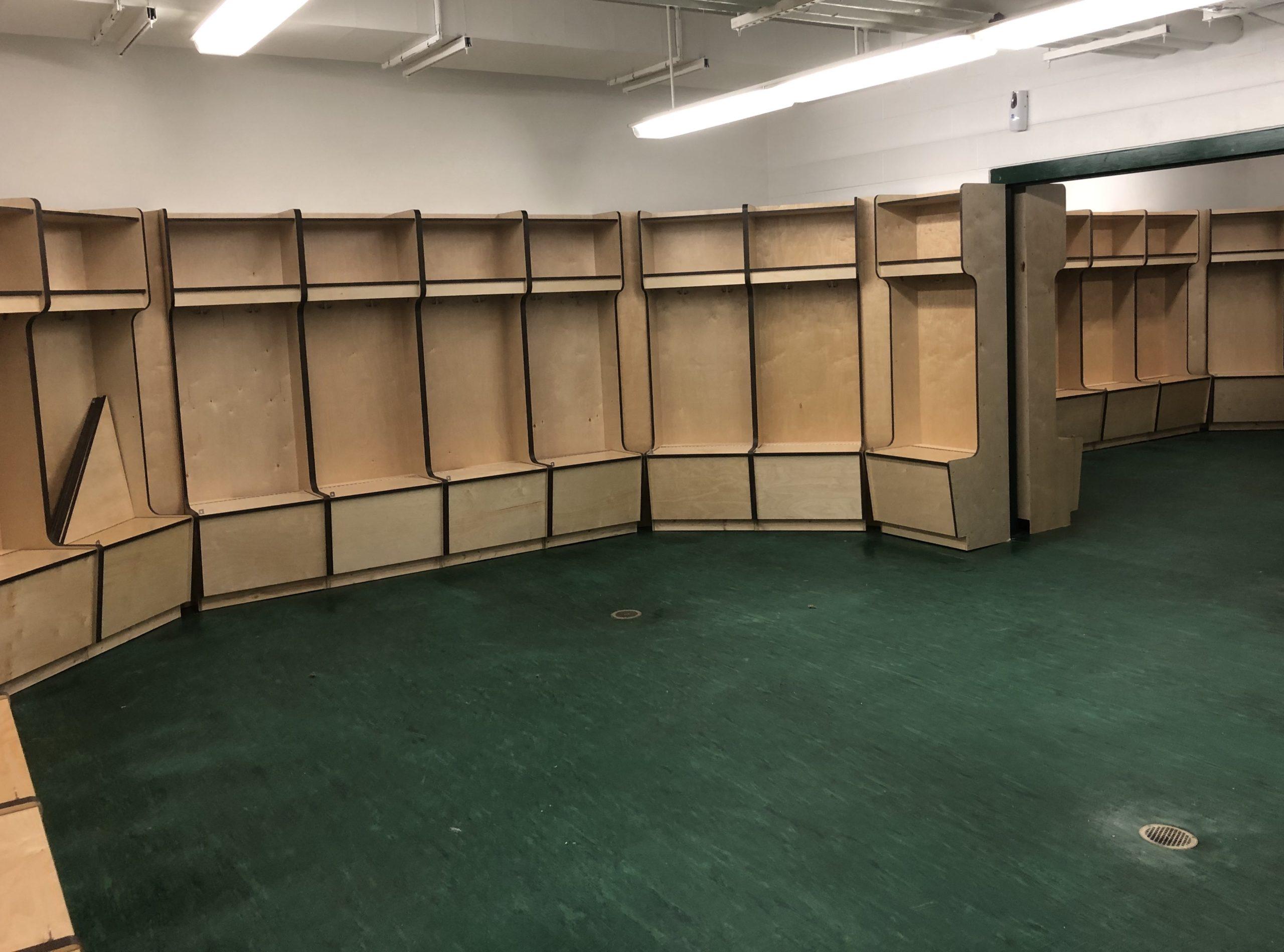 Plywood open front hockey lockers