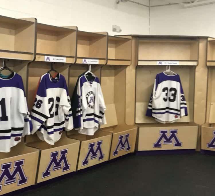 Wood open front hockey lockers