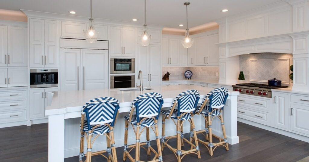 white modern cabinetry with kitchen island