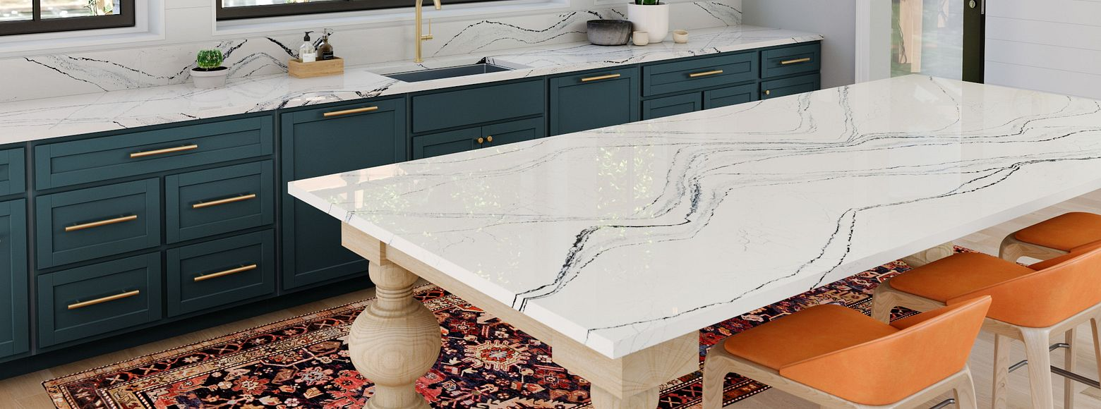 White marble island in Cambria quartz
